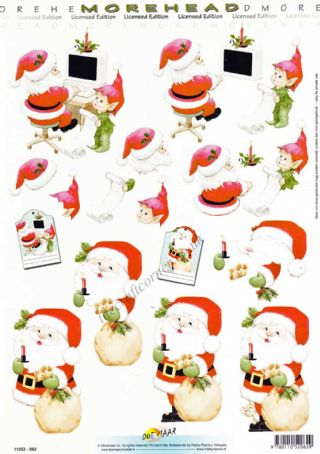 Morehead Father Christmas & Elf 3D Decoupage Sheet